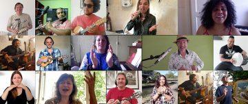 Screenshot van video Ta Escrito met diverse muzikanten, zangeressen en een signdancer.